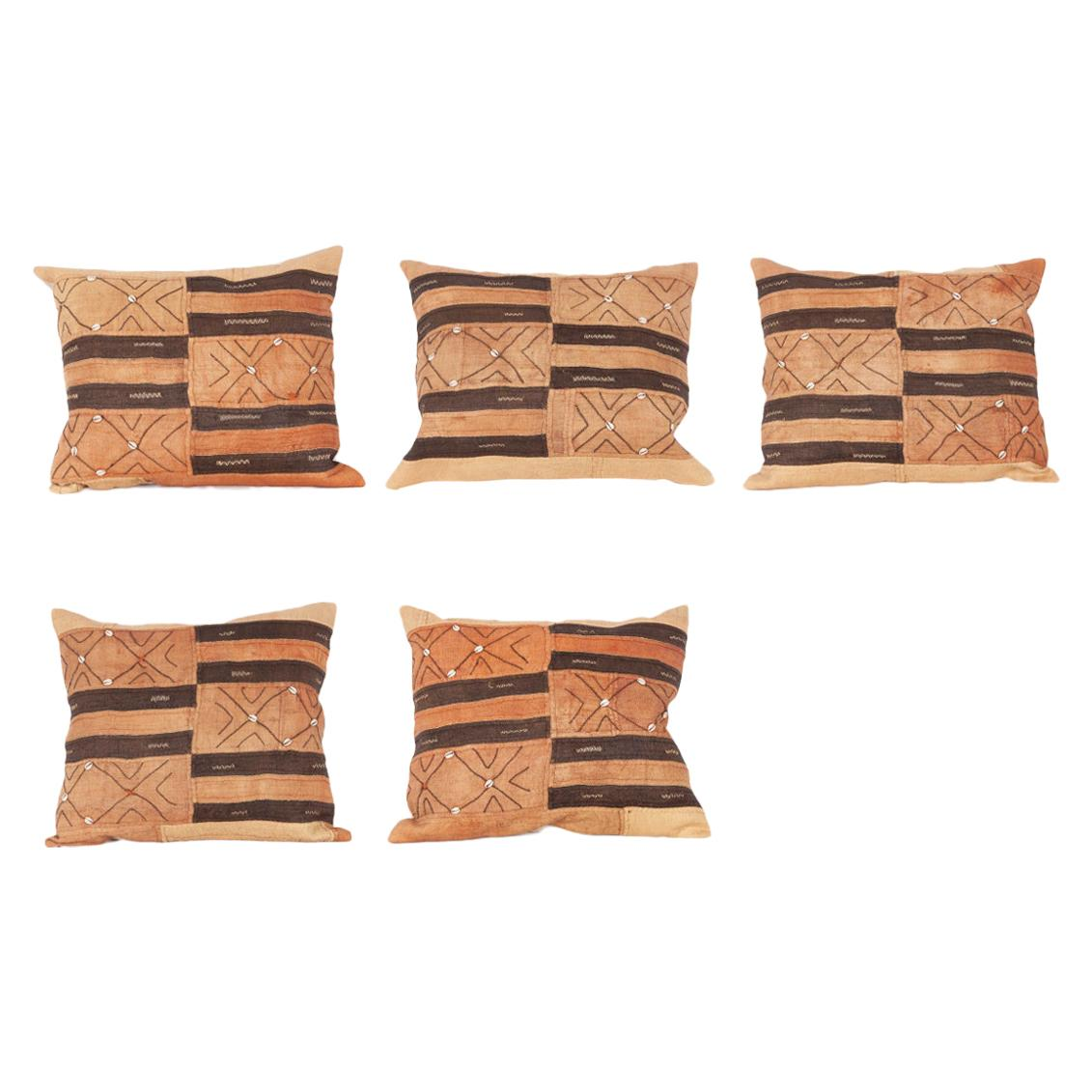 Vintage African Kuba Cloth Pillow Cases, Mid-20th Century