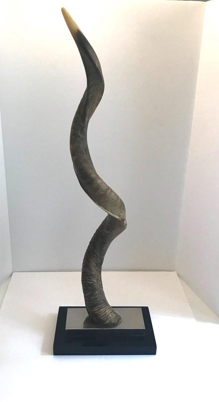 Vintage African Kudu Horn Sculpture on Stand For Sale 9