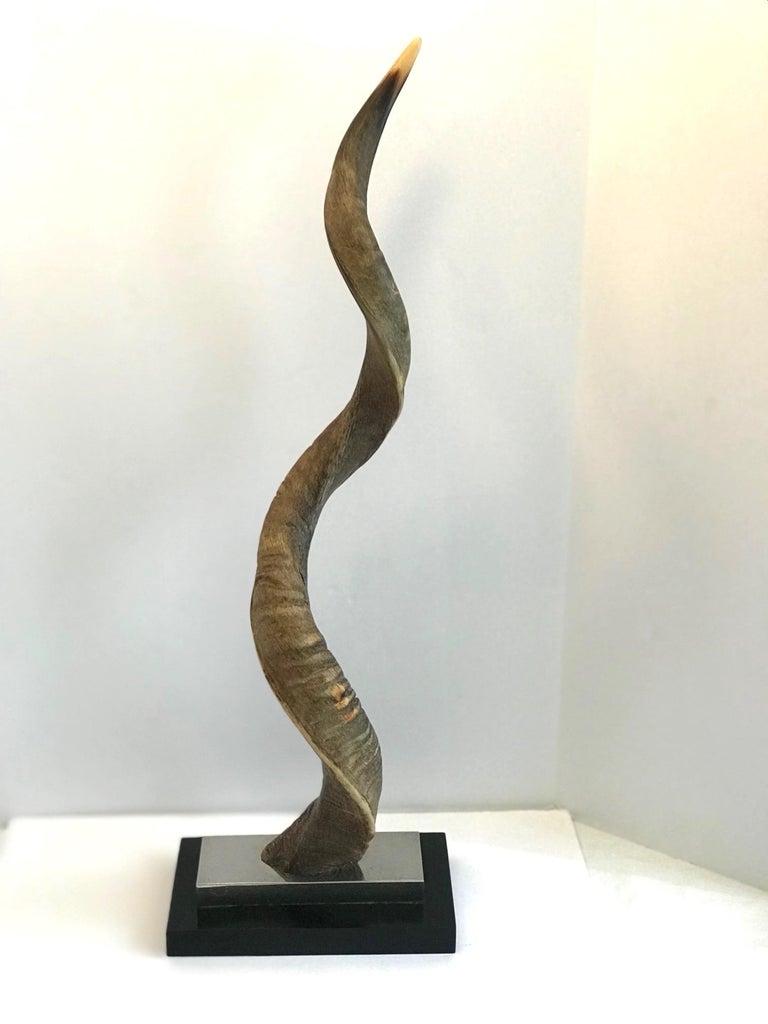 Vintage African Kudu Horn Sculpture on Stand For Sale 11