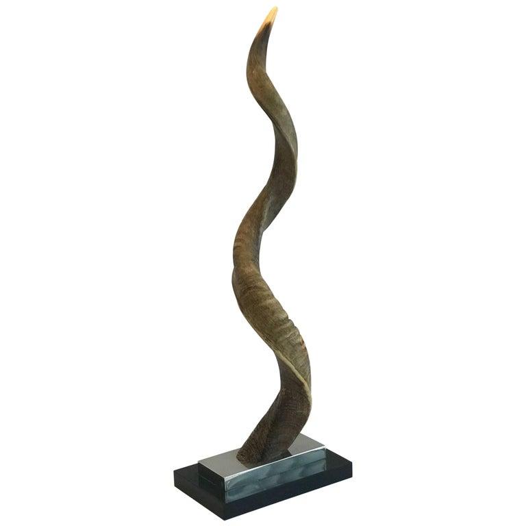 Vintage African Kudu Horn Sculpture on Stand For Sale