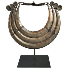 Vintage African Metal Maio Necklace on Stand