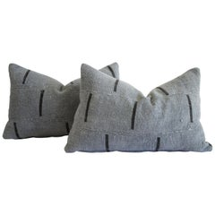 Vintage African Mud Cloth Gray Blue Pillow with Black Lines