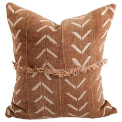 Vintage African Mud Cloth Pillow Cover from Mali with Fringe Details
