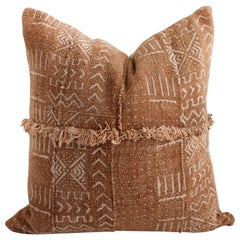 Vintage African Mud Cloth Pillow Cover with Original Fringe Details