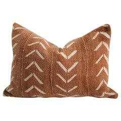 Vintage African Mud Cloth Pillow in Dark Rust Brown Color