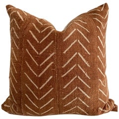 Vintage African Mudcloth Pillow in Deep Rust Color with Insert