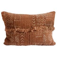 Vintage African Mudcloth Pillow with Original Fringe Details