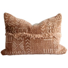 Vintage African Mudcloth Pillows with Original Fringe Detail