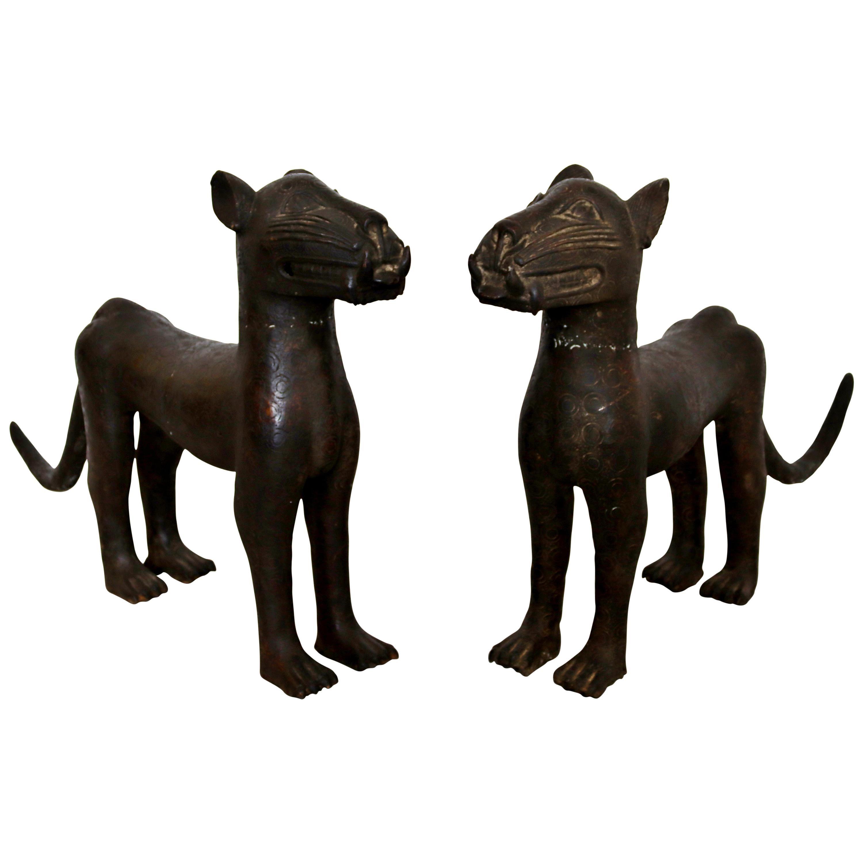 Vintage African Pair Bronze Leopard Floor Sculpture from Benin Nigeria
