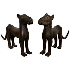 Vintage African Primitive Pair Bronze Leopard Floor Sculpture from Benin Nigeria