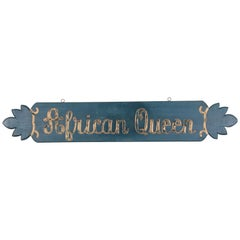 "Vintage ""African Queen"" Boat Name Sign, circa 1950s"
