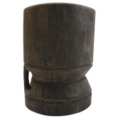 Vintage African Tribal Wooden Mortar Stool