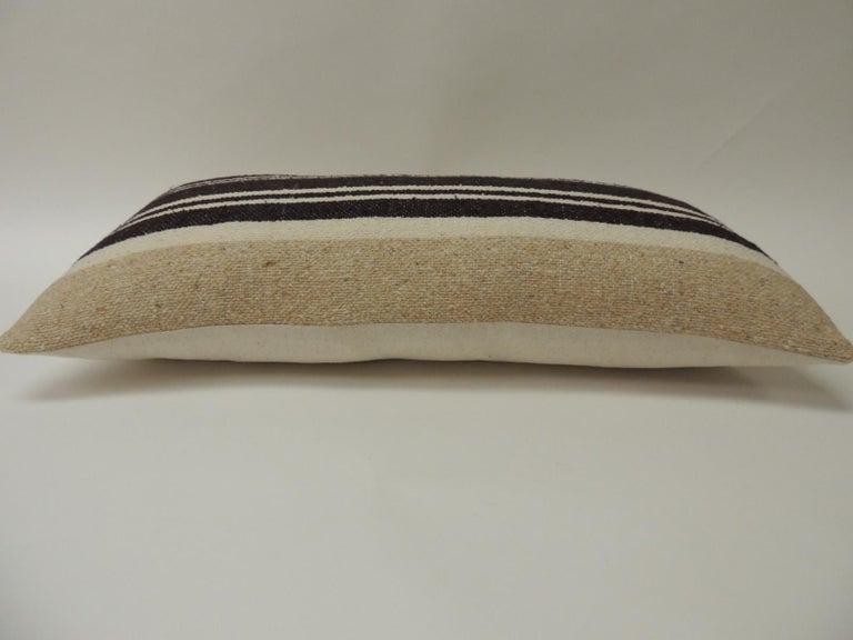 Moroccan Vintage African Woven Tribal Artisanal Textile Decorative Long Bolster Pillow For Sale