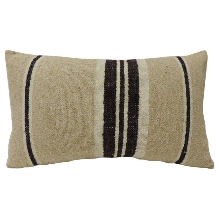 Vintage African Woven Tribal Artisanal Textile Decorative Lumbar Pillow For Sale