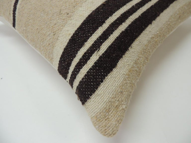 Hand-Crafted Vintage African Woven Tribal Artisanal Textile Decorative Square Pillow For Sale