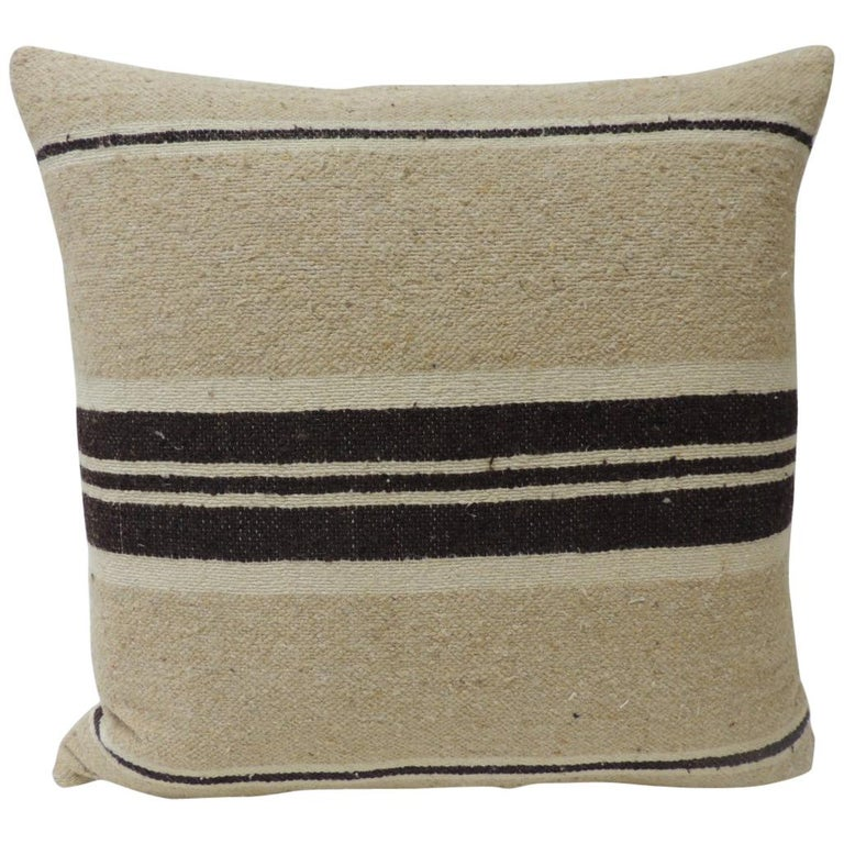 Vintage African Woven Tribal Artisanal Textile Decorative Square Pillow For Sale
