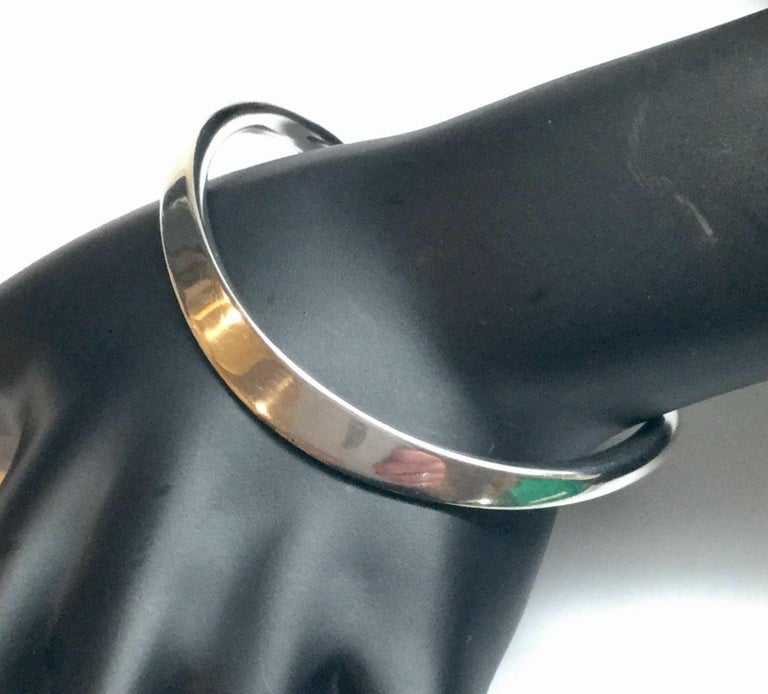 Vintage Age Fausing Denmark Sterling Silver Curved Cuff Bracelet For Sale 1