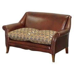 Vintage Aged Brown Leather Sofa with Liberty's of London Upholstered Cushions