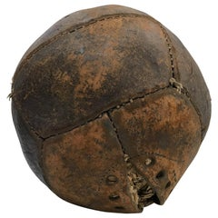 Vintage Aged Leather Medicine Ball Distressed Collectible Sports Art Memorabilia