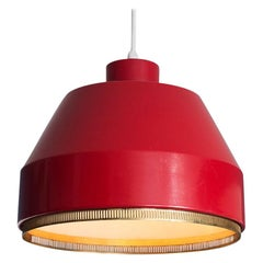 """Vintage Aino Aalto Pendant Light """"AMA500"""" in Red Painted Metal, Finland, 1951"""