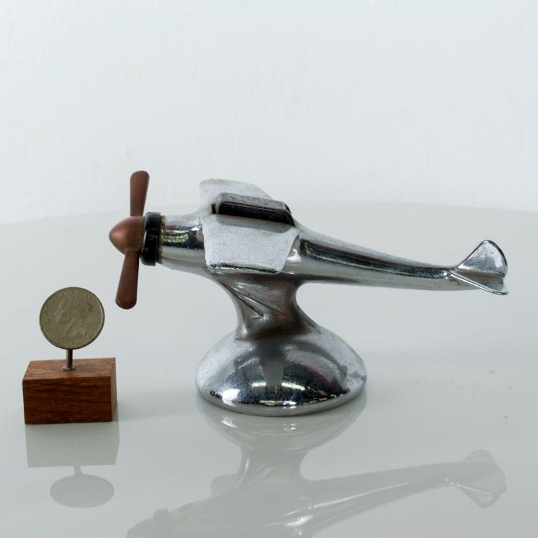 For Your consideration: Vintage chrome airplane table cigarette lighter midcentury USA cockpit flips open. Dimensions: 3