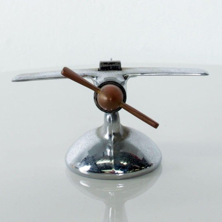 Chrome Vintage Airplane Table Cigarette Lighter Midcentury Mod USA For Sale