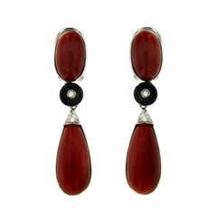 Vintage Aka Japanese Coral Diamond Onyx Gold Drop Earrings