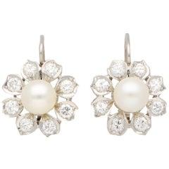 Vintage Akoya Pearl and Diamond Cluster Floral Drop Earrings Set in Platinum