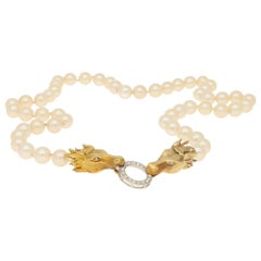 Vintage Akoya Pearl and Diamond Horse Head Necklace in 18k Yellow Gold