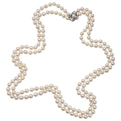 Vintage Akoya Pearl Double Strand Necklace