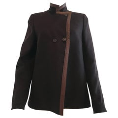 Vintage Akris Brown Cashmere Jacket with Leather Trim