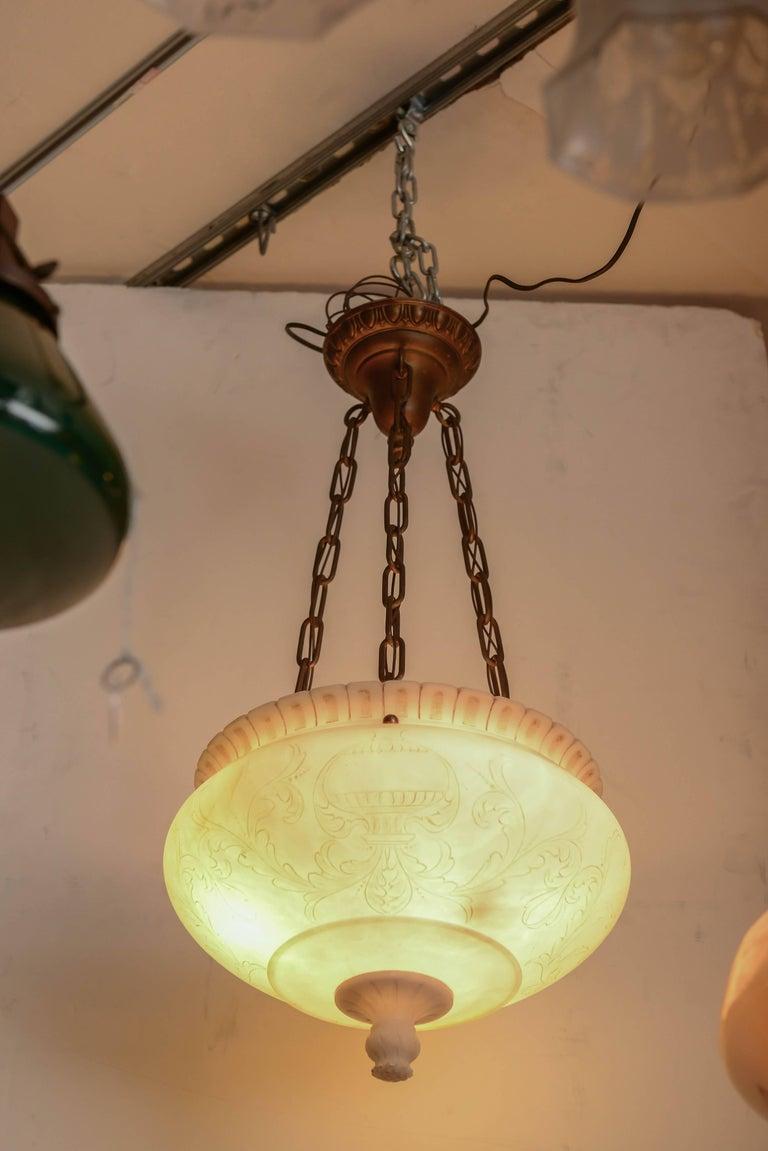 Vintage alabaster carved urn pendant or bowl chandelier for sale belle poque vintage alabaster carved urn pendant or bowl chandelier for sale mozeypictures Gallery