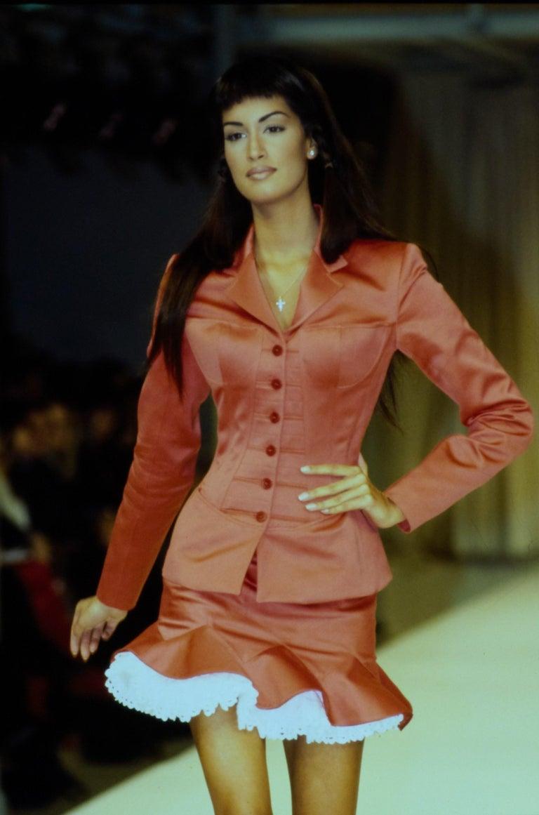 Brown Vintage Alaia Burgundy Corset Skirt Suit 1992 For Sale