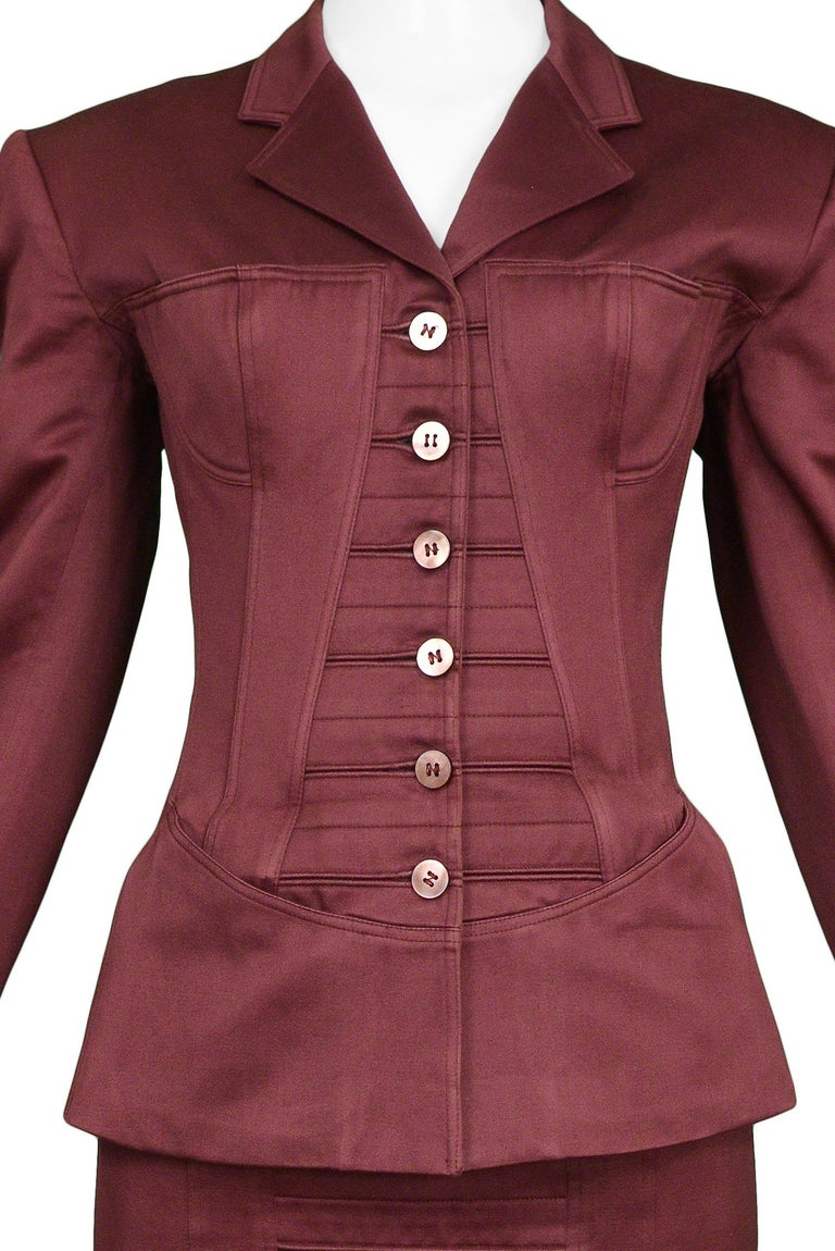 Vintage Alaia Burgundy Corset Skirt Suit 1992 In Excellent Condition For Sale In Los Angeles, CA