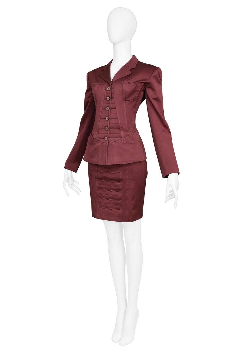 Women's Vintage Alaia Burgundy Corset Skirt Suit 1992 For Sale