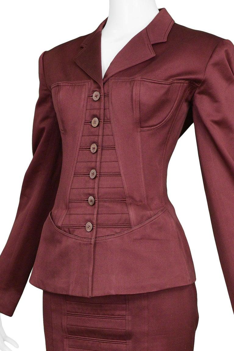 Vintage Alaia Burgundy Corset Skirt Suit 1992 For Sale 1