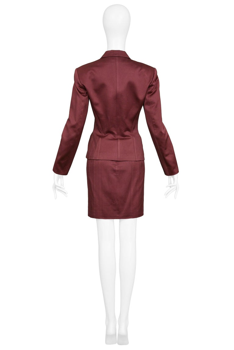 Vintage Alaia Burgundy Corset Skirt Suit 1992 For Sale 2