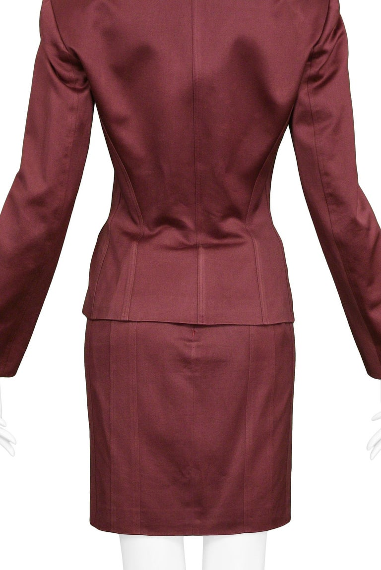 Vintage Alaia Burgundy Corset Skirt Suit 1992 For Sale 3