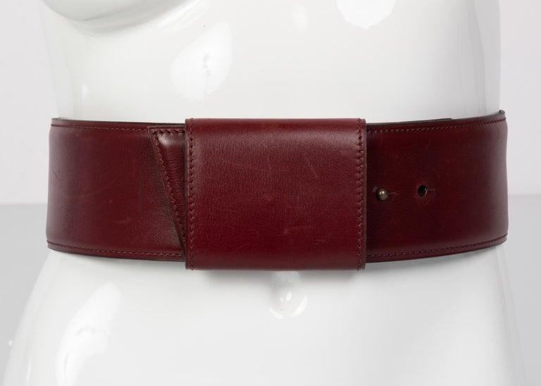 Vintage Alaïa Burgundy Leather Waist Belt For Sale 1