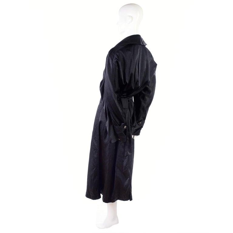 Vintage Alaia Paris Raincoat 1990s Black Trench Coat 11