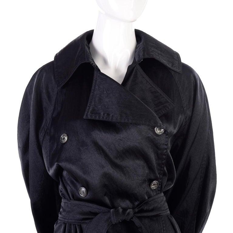 Vintage Alaia Paris Raincoat 1990s Black Trench Coat 13
