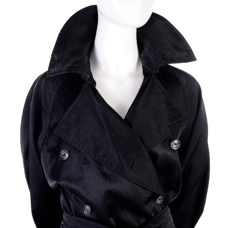 Vintage Alaia Paris Raincoat 1990s Black Trench Coat In Excellent Condition For Sale In Portland, OR