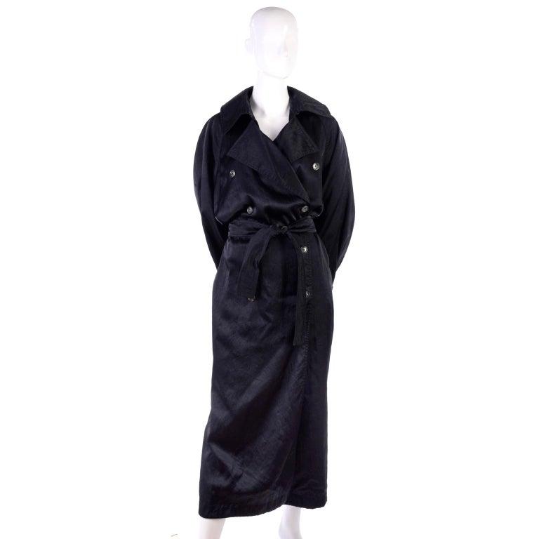 Vintage Alaia Paris Regenmantel der 1990er Jahre schwarzer Trenchcoat 4