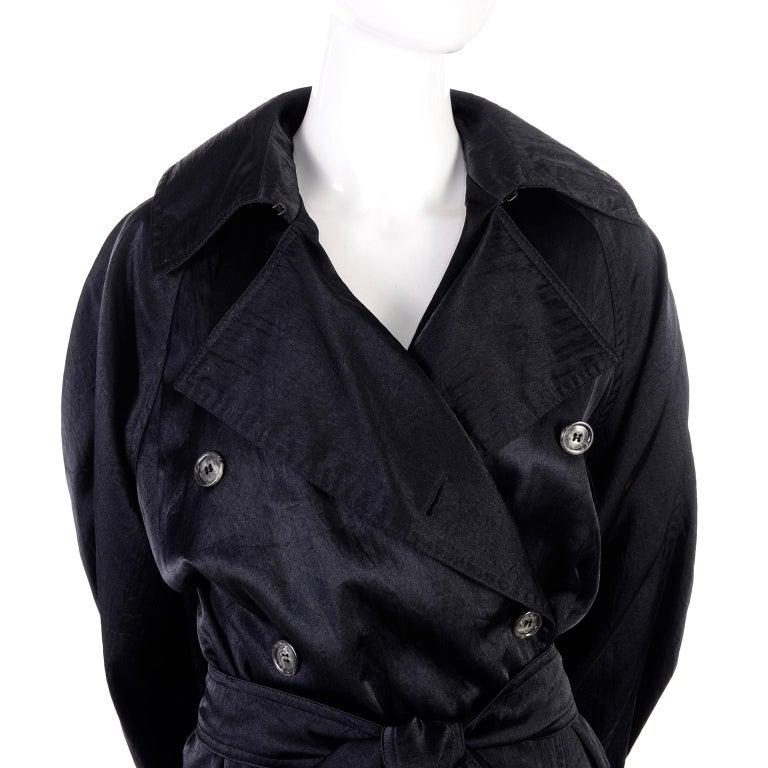 Vintage Alaia Paris Raincoat 1990s Black Trench Coat 5