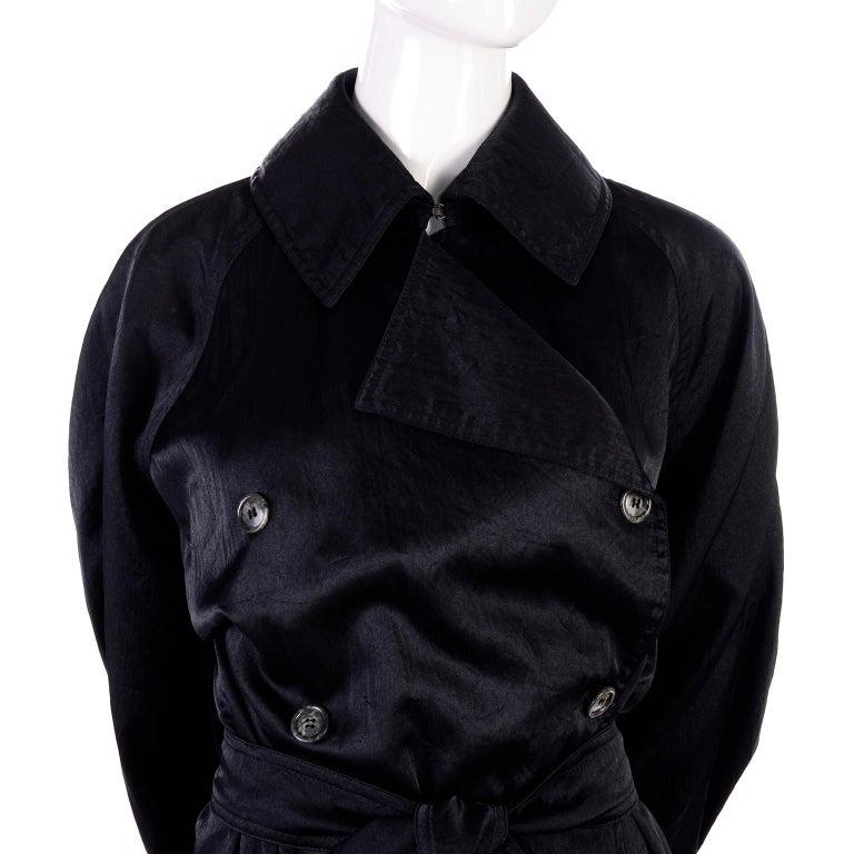 Vintage Alaia Paris Raincoat 1990s Black Trench Coat 6