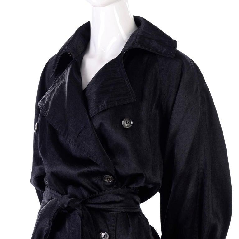 Vintage Alaia Paris Raincoat 1990s Black Trench Coat 7