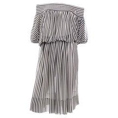 Vintage Albert Nipon Black and White Stripe Silk Dress Off Shoulder