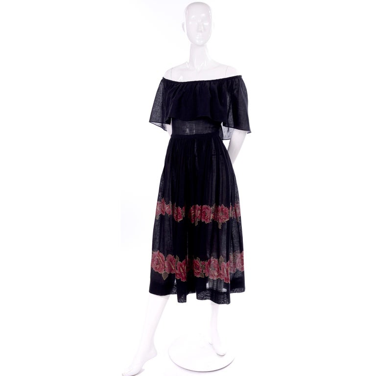 Vintage Albert Nipon Black Off Shoulder Cotton Voile Dress With Red Rose Print In Excellent Condition For Sale In Portland, OR