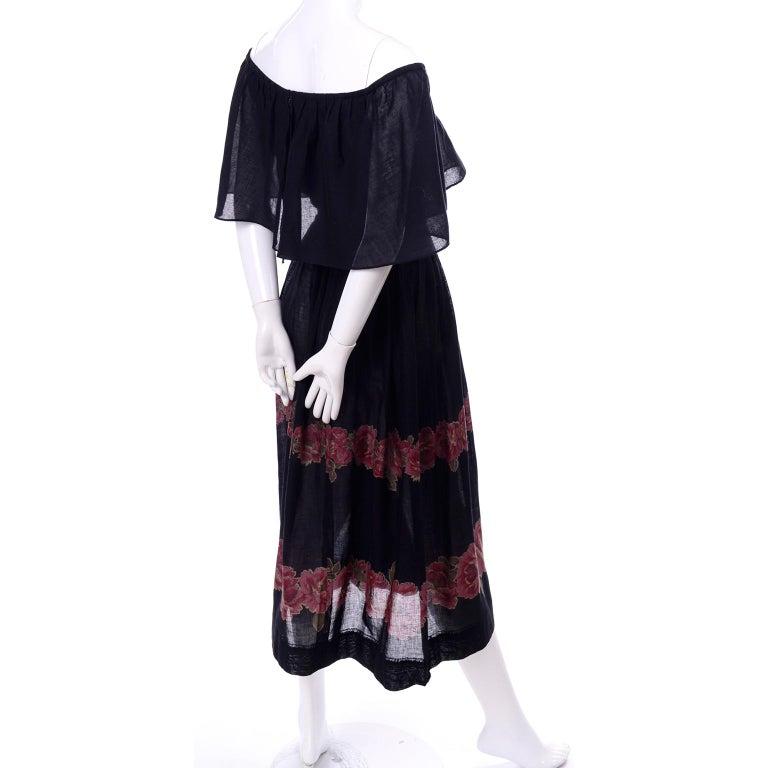 Women's Vintage Albert Nipon Black Off Shoulder Cotton Voile Dress With Red Rose Print For Sale