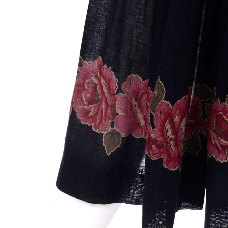 Vintage Albert Nipon Black Off Shoulder Cotton Voile Dress With Red Rose Print For Sale 1